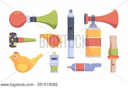 Whistle Set. Security Policemen Or Sport Coach Items Colored Whistles Vector Collection. Illustratio