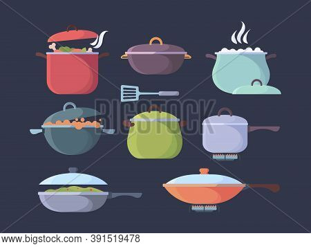 Gas Stove Boiling Food. Preparing Different Products Cooking Pan And Pots Steam And Smell Visualizat