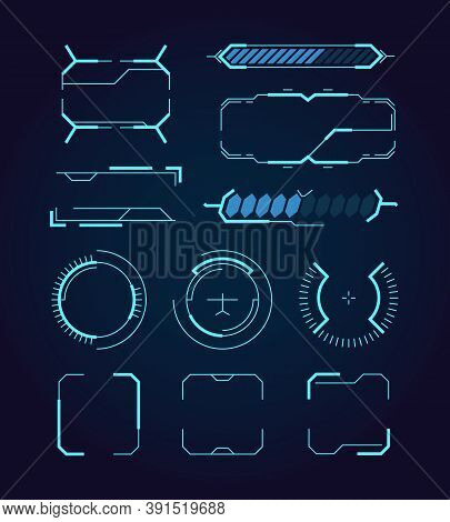 Sci Fi Ui. Hud Web Futuristic Elements Modern Space Game Signs Callouts Digital Dividers Frames Holo
