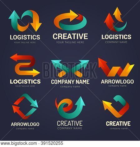 Arrows Logo. Business Identity Symbols With Stylized Direction Arrows Shapes Speed Motion Visualizat