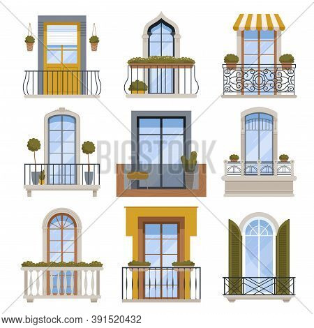 Balcony Decor. Building Wall Front View Facade With Modern Balcony Vector Architecture Illustrations
