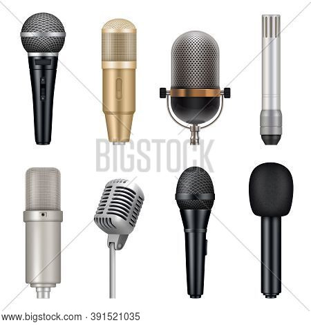 Microphones Realistic. Audio Studio Equipment For Singing And Talking Vector Templates Set. Studio K