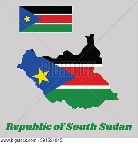Map Outline And Flag Of South Sudan, A Horizontal Tricolor Of Black, Red, And Green With White Strip