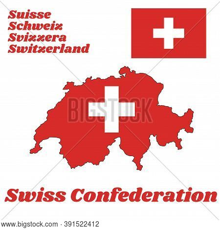 Map Outline And Flag Of Switzerland, It Is Consists Of A Red Flag With A White Cross In The Centre W