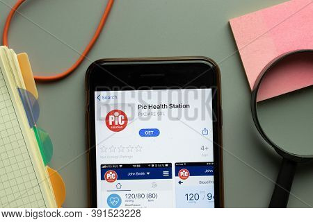 New York, Usa - 26 October 2020: Pic Health Station Mobile App Logo On Phone Screen Close Up, Illust