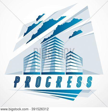City Building Business Financial Office Vector Design. Futuristic Architecture Illustration. Real Es