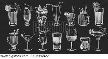 Hand Drawn Cocktails. Sketch Cocktail Set Isolated On Black Background Chalk Drawing Style Alcohol D