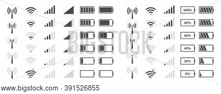 Wifi Signal Level. Battery Charge Black Sign, Mobile Network And Antenna Status Internet Indicator W