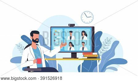 Medical Video Conference. Online Doctors Meeting With Computer App, Web Consultation. Internet Worki