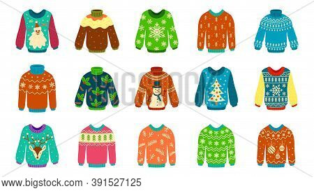 Knitted Sweater. Woolen Ugly Jumpers With Christmas Patterns, Pullover Stylish Holiday Design, New Y