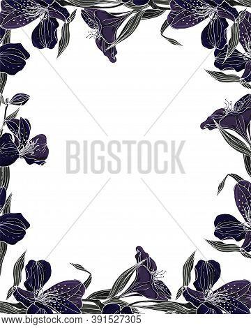 Flower Vector Frame Stained Glass Mosaic With Dark Alstroemeria.