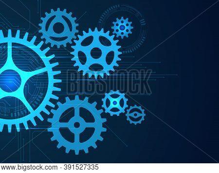 Gears Background. Cogwheels Mechanisms Engineering, Engine Gear Movement, Hi Tech Industry Developme