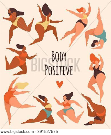 Body Positive. Happy Overweight Women In Swimsuits Activity Poses, Charming Plus Size Woman In Fashi