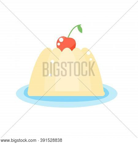 Jelly Pudding With Cherry Berry On Plate. Vector Icon, Isolated Clip Art