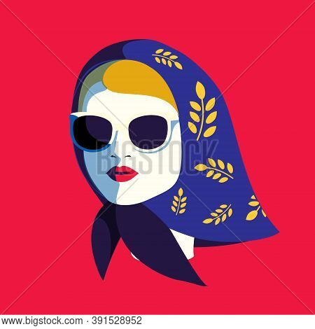 Fashion Woman In Sunglasses And Kerchief. Glamourous Girl. Fashionable Female Portrait For Prints, C