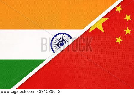 India And China Or Prc, Symbol Of National Flags From Textile. Relationship, Partnership And Champio