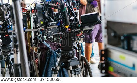 Film Industry. Image Of Professional Camera And Equipment Background