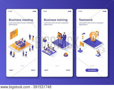 Business Meeting Isometric Gui Design Kit. Business Training And Workshop, Teamwork Cooperation Temp