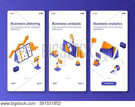 Business Analytics Isometric Gui Design Kit. Business Planning, Financial Analysis Templates For Mob