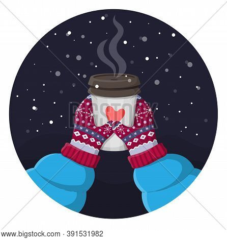 Two Hands Holding A Cup Of Hot Drink. Magic Winter Night Cozy Illustration. Knitted Winter Vintage G