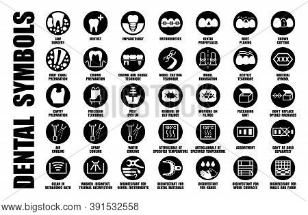 Vector Iso, Fda Set Of Tooth Care Symbols, Dental Treatment Icons, Dentist And Orthodontist Clinic P