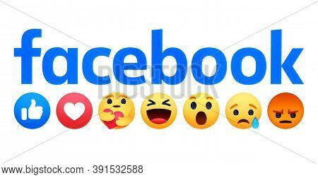 Kiev, Ukraine - April 18, 2020: Facebook Logo With New Like Button Empathetic Emoji Reactions, Print