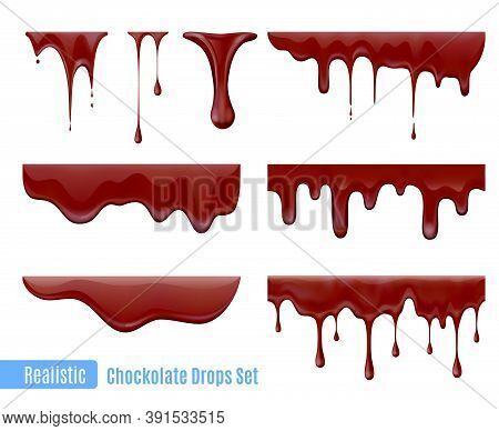 Melting Dripping Chocolate Drops Realistic  Set Isolated Vector Illustration