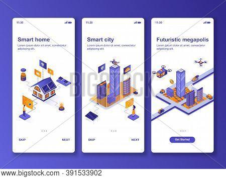 Smart Home Isometric Design Kit. Smart City Technology, Futuristic Megapolis Templates For Mobile Ap
