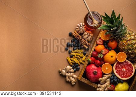Healthy Nutrition During Flu, Cold Season. Selection Of Fresh Fruit With Vitamin C And Natural Ingre