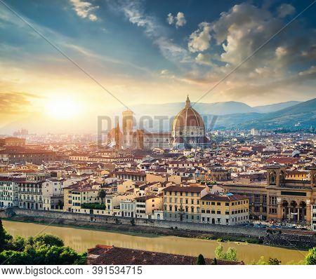 Magnificent Basilica Of Santa Maria Del Fiore In Florence, Italy