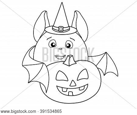 A Cute Fat Bat In A Magic Hat Carries A Halloween Pumpkin - A Linear Stock Illustration For Coloring