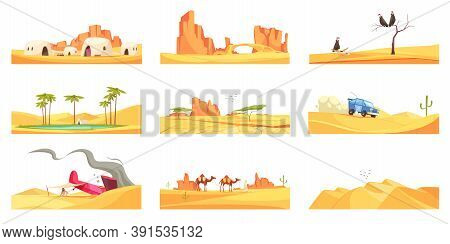 Desert Set Of Nine Isolated Landscape Compositions With Flat Images Of Trees Canyons And Living Hous