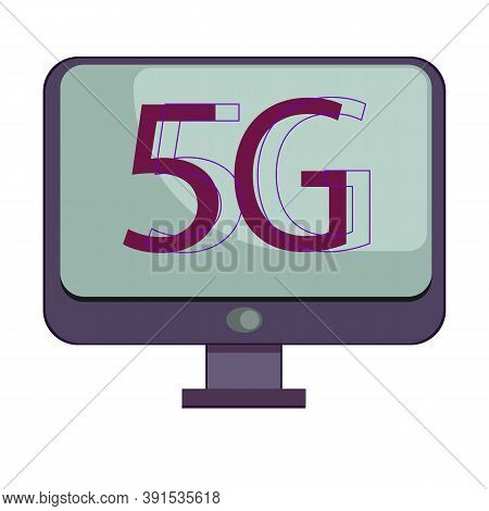 5g Template With Computer Flying. High Speed Mobile Web Technology. Vector Illustration. Network 5g.