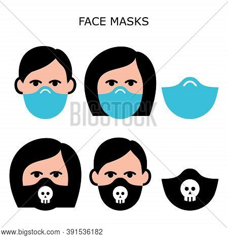 Man And Woman Wearing Safety Face Masks Vector Icons Set - Masks Worn During Self-distancing To Prev