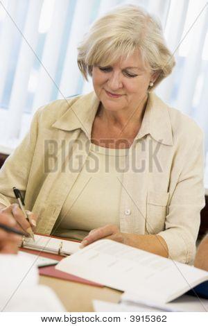Senior Woman Studying