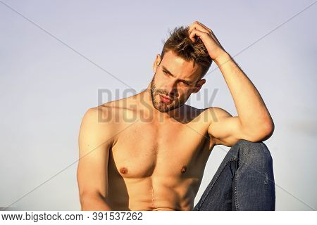 Sexy Pensive Man Relaxing Outdoors. Male Beauty. Fashion Guy. Attractive And Mysterious. Athletic Ha