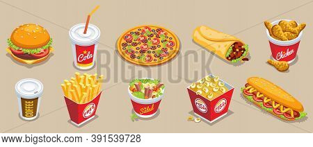 Isometric Fast Food Elements Set With Hamburger Cola Pizza Doner Kebab Chicken Coffee French Fries S