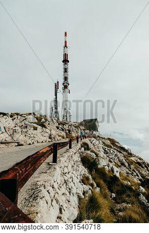 Weather Station On Mountain Biokovo, Croatia. Gray Sky