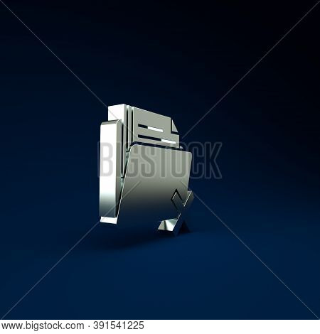 Silver Delete Folder Icon Isolated On Blue Background. Folder With Recycle Bin. Delete Or Error Fold