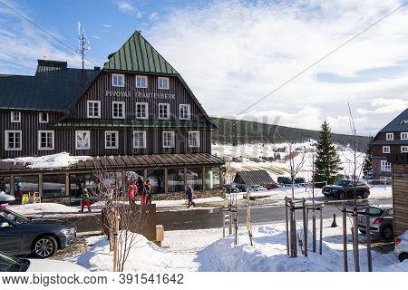 Mala Upa, Czech Republic - February 24 2020: Trautenberk Brewery Building Exterior On Sunny Winter D