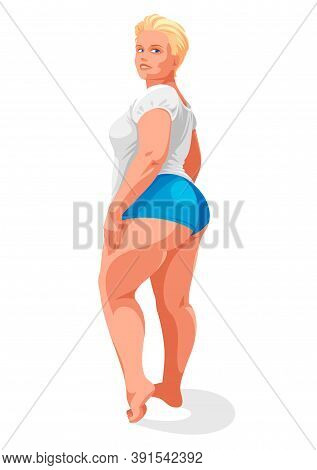 Attractive And Sexy Plus Size Woman Isolated On White, Vector Illustration Concept Of Body Positivit