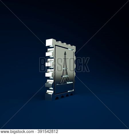 Silver Postal Stamp And Eiffel Tower Icon Isolated On Blue Background. Minimalism Concept. 3d Illust
