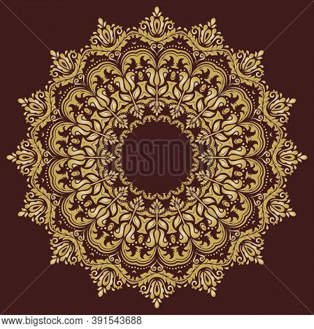 Oriental Vector Pattern With Arabesques And Floral Elements. Traditional Classic Round Golden Orname