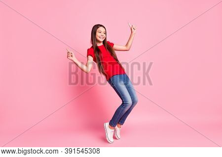 Full Body Size Photo Of Lovely Sweet Little Lady Long Hairstyle Performance Dance Raise Hand Finger