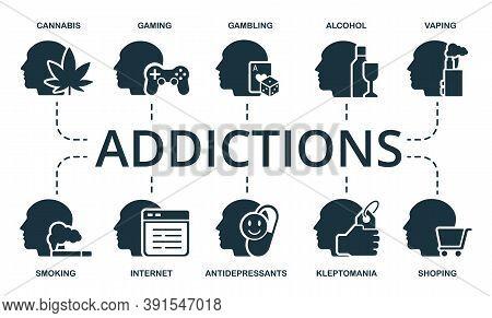 Addiction Icon Set. Collection Contain Cannabis, Gaming, Gambling, Alcohol, Vaping, Smoking, Interne