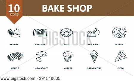 Bake Shop Icon Set. Collection Contain Cotta, Gingerbread, House, Bread, Cupcake, Confectionery, Ove