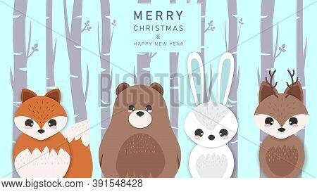 Merry christmas and happy new year greeting background with cartoon animals.Merry Christmas card vector Illustration.Christmas. Christmas Vector. Christmas Background. Merry Christmas Vector. Merry Christmas banner. Christmas illustrations