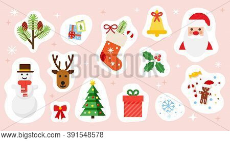 Christmas And Happy New Year Holiday Stickers Set. Colorful Festive Vector Illustrations Collection.