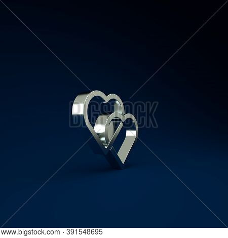 Silver Two Linked Hearts Icon Isolated On Blue Background. Romantic Symbol Linked, Join, Passion And