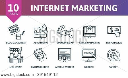 Internet Marketing Icon Set. Collection Contain Pay Per Click, Blog Management, Advertising, E-mail